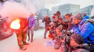 Produtores de leite protestam em Bruxelas