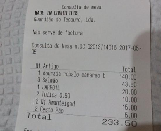 Restaurante lisboeta dos preços