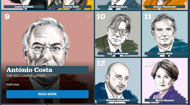 António Costa eleito nona personalidade que vai moldar a Europa em 2018