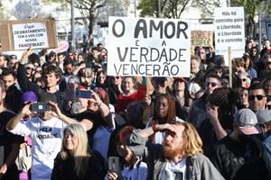 As imagens da manifestação contra a gestão da pandemia de covid-19